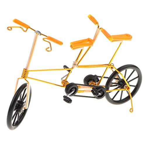 Fenteer Miniatur Fahrrad Figur Geldgeschenk Fahrradmodell Dekofigur Tischdeko, 20 x 6 x 12 cm - Gelb