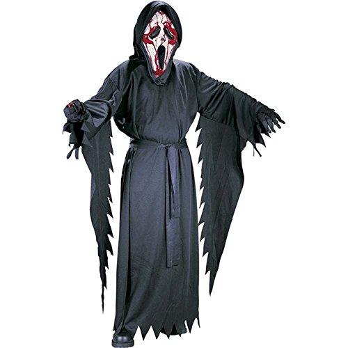Fun World 1074 - Halloween Kostüm - Scream / Ghostface mit Kunstblut - enthält Kutte, Gürtel, Maske & Blutpumpe in Herzform - Einheitsgröße