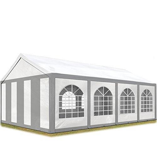 TOOLPORT Hochwertiges Partyzelt 4x8 m Pavillon Zelt 240g/m² PE Plane Gartenzelt Festzelt Bierzelt Wasserdicht Grau-Weiß Modell 2018