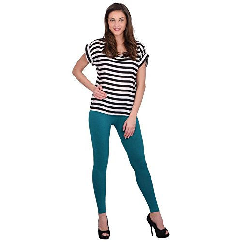 Leggings Jeggings for Women Girls Premium Quality Cotton Polyster Western Wear Stretchable Ankel Length Solids Color Free Size Compatible for Sports-wear, Yoga-wear, Arobics-wear , Party-wear, Casual-wear Emerald XXL  available at amazon for Rs.299