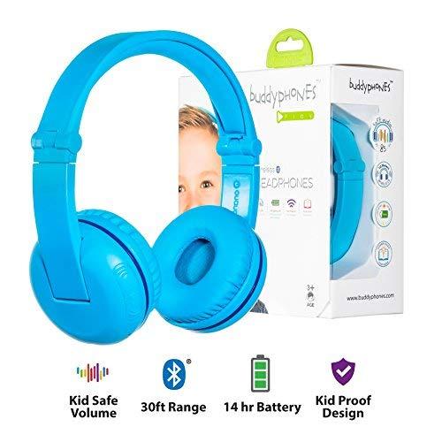 Kabellose Bluetooth Kopfhörer für Kinder - BuddyPhones PLAY | Verstellbare Lautstärkebegrenzung zu 75, 85, 94 dB | Faltbar mit 14h Batterielaufzeit | Optionales Kabel zum Mithören | Blau (Kinder-kopfhörer Für Amazon Kindle Fire)