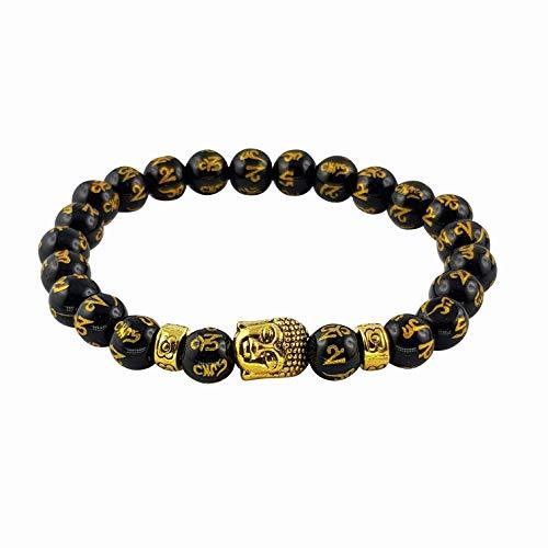 Buddha Armband mit buddhistischem Mantra Om Ma Ni Pad Me Hum 8-mm Perlen-armband Onyx Tigerauge Edelstein schwarz gold Mala Buddha-Armband Gebetskette Gebetsarmband Chakra-Armband MIND CARE ESSENTIALS