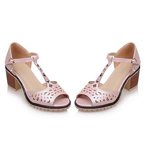 AllhqFashion Damen Pu Leder Eingelegt Schnalle Sandalen Pink