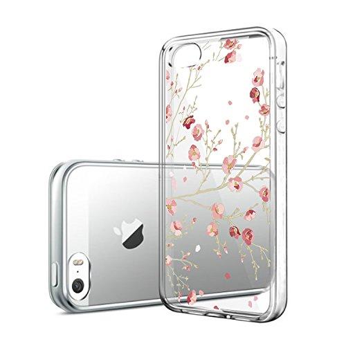 iPhone 5/5s/SE hülle vanki® Tasten Schutzhülle Blumen Clear Case Cover Bumper TPU Silikon Durchsichtig Handyhülle für iPhone 5/5s/SE (Cherry blossoms) Flowers