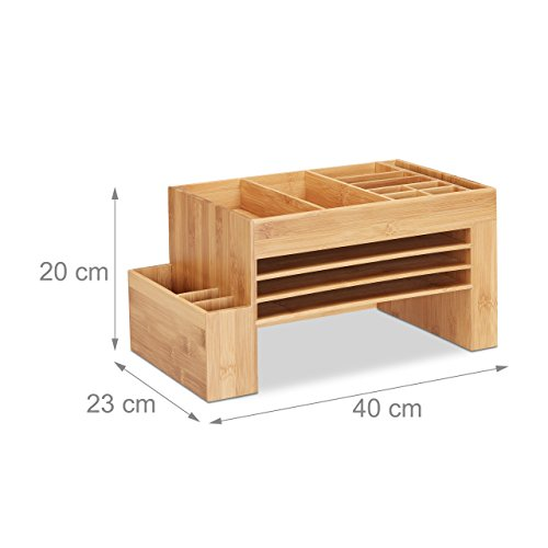 relaxdays schreibtisch organizer bambus ablagesystem f b ro aufbewahrungsbox briefablage. Black Bedroom Furniture Sets. Home Design Ideas