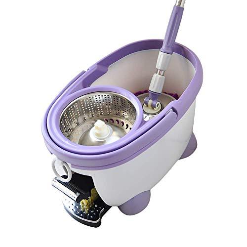ZTMN Rotierender Mop-Moped-Fuß Freihandwäsche Automatischer Mop-Eimer Rotierender Mop-Nass- und Trockenwischeimer (milchweiß) (Fuß Scrubber Matte)