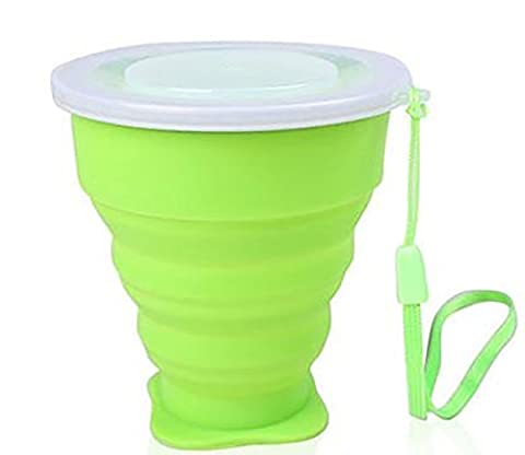 3zfamily Tasse de voyage camping plein air rétractable pliable portable en silicone. Portable Silicone Rétractable Télescopique Pliable, Green