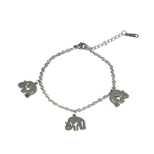 Pulsera Fantasía Cadena De Acero–Colgantes elefantes–Bijou Mujer