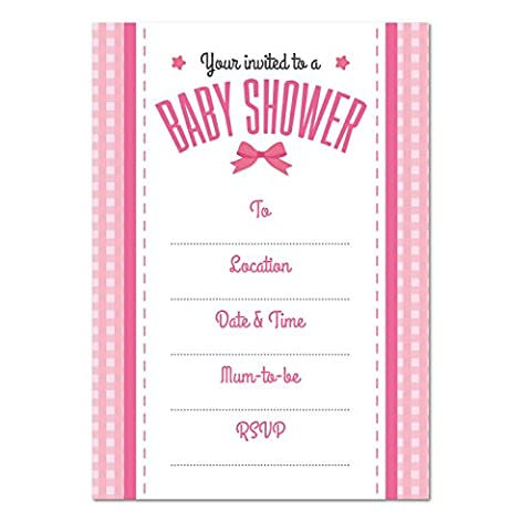 Baby Shower blank INVITATION, Pack of 16, Girls Pink Bow Theme, Party Invites (WITH Envelopes)