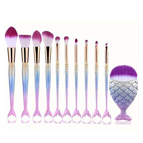 Drawihi 11 PCS Makeup Brushes Kit de Pinceau maquillage Professionnel Ombre à Paupière Blush Fondation Pinceau Poudre Fond de teint Anti-cerne Kit Pinceaux avec sac Beauté Brosse Fibres (Sirène)
