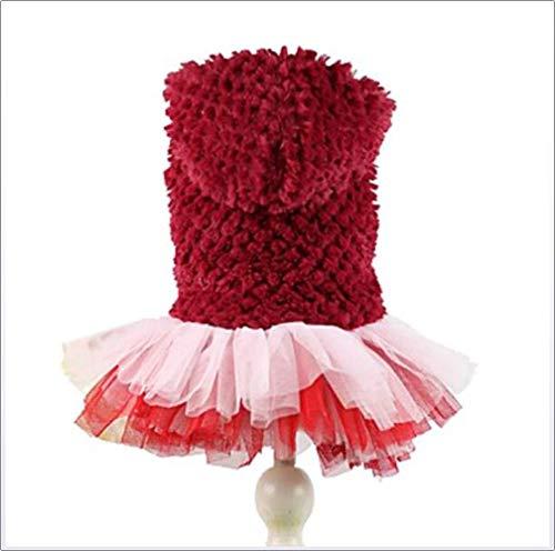 Prinzessin Kostüm Polar - YAMEIJIA Hund Kapuzenshirts Kleider Hundekleidung Solide Purpur Rot Polar-Fleece Kostüm Für Haustiere Damen Niedlich Geburtstag Warm Halten,Red,S