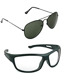 Magjons Fashion Combo Of Green Aviator And Night Driving Sunglasses