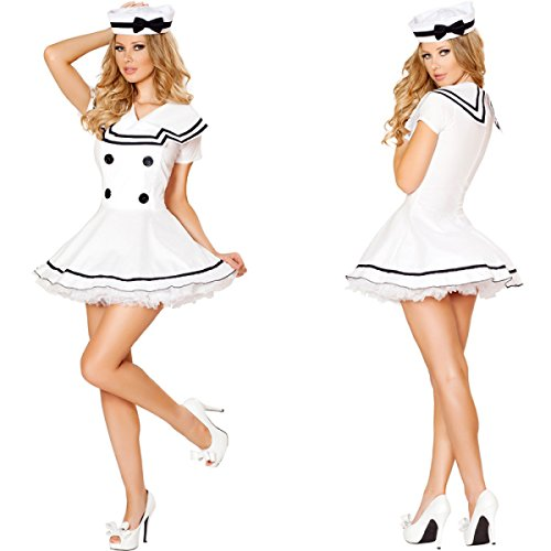 Nihiug Sexy White Policewoman Navy Rock Halloween Kostüm Cosplay Sailor Damen Kleidung Erwachsene DS Performance Kostüm Miss Fashion Miss,Dress+Hat+SkirtDress+Hat+WhiteStockings (9 Ds Halloween Kostüm)