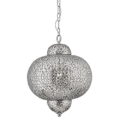 Searchlight Moroccan Style Shiny Nickel 1-Light Ceiling Pendant, 9221-1SS