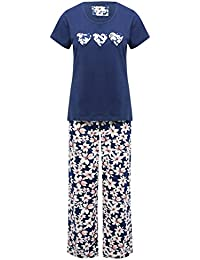 M&Co Ladies Cotton Jersey Short Sleeve Floral Print Embroidered Love Heart Pyjama Set