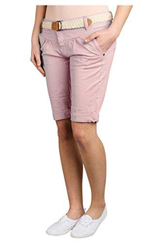 Fresh Made Damen Bermuda-Shorts in Pastellfarben mit Flecht-Gürtel | Elegante kurze Hose im Chino-Style light-rose