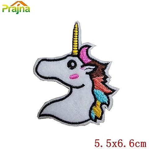 Nueva 1PCS del corazón del unicornio parche en el ojo hierro en remiendos de la historieta de los niños barato bordados parches lindo para la ropa del arco iris Emoji Food Patch Diseño E