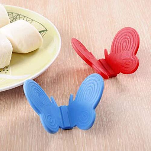 2 stücke Butterfly Design Küchengeschirr Silikon Ofen Wärmeisolierte Fingerhandschuh Mitt Mikrowelle Rutschfeste Greifer Topflappen -