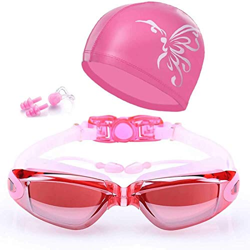 EUTUOPU Swimming Goggles Swimming Cap Set 5 in 1 Swimming Goggles + Swim Cap + Nose Clip + Ear Plugs + Case, HD Anti-Fog 100% UV Protection for Adult Men Women Youth (Pink)