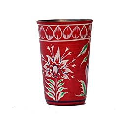 eCraftIndia Handpainted Decorative Steel Glass - 101 Red Color