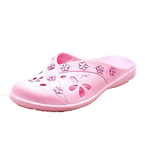 Rosa aperta indietro gomma da spiaggia scarpe / zoccoli con dettaglio gioiello Pink