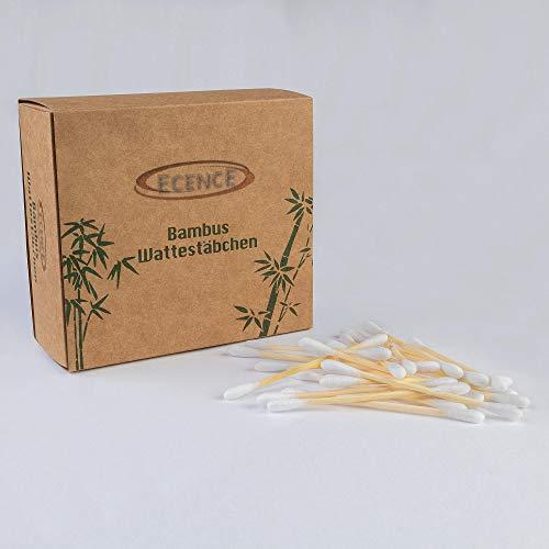 täbchen 200 Stück Bambusstiel mit Baumwolle 100% biologisch abbaubar Nachhaltige Verpackung Plastikfreie 7,5cm für Kinder + Erwachsene Fusselfreie beidseitig verwendbar 41030101 ()