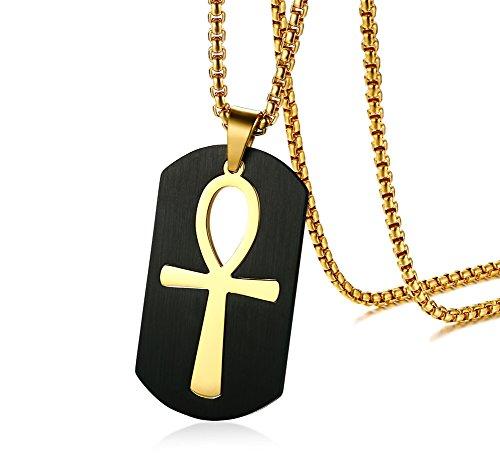 Vnox Herren Edelstahl Ankh Kreuz des Lebens Dog Tag Anhänger Halskette Black Gold, abnehmbar,freie Kette