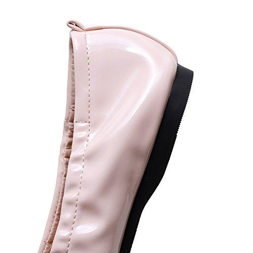 AgooLar Femme Verni Non Talon Carré Couleur Unie Tire Chaussures à Plat Rose
