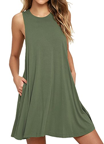 VIISHOW Womens Basic Causal Tunic Top Mini T-Shirt Kleid (Armeegrün M) (Womens Sonne Tank Top)