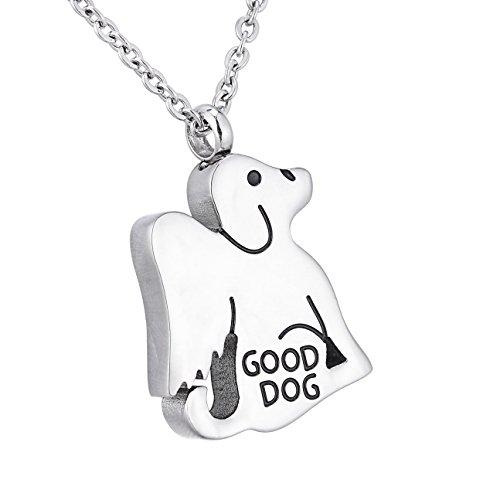 HooAMI Edelstahl Urne Anhaenger Unisex Hundform Good Dog Memorial Asche Andenken Halskette -