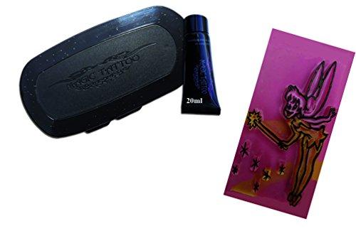 Pierre Tatouage Temporaire Ephémère Magic Tattoo- Encre 20 ml +Encreur XXL + Pierre a Tatouer fée