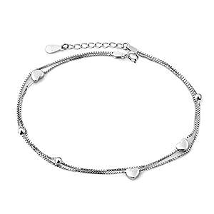 Korliya Fußkettchen, Motiv indisches Herz, Liebe, 925er Sterlingsilber, verstellbar, mit Perlen