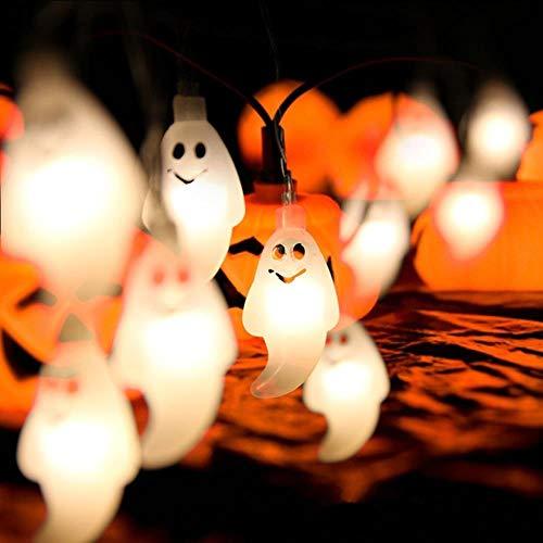 TTYAC 10 LED Laternen Lampe für Halloween Dekor hängende Lichterketten Horriable Ghost/Kürbisse/Spinne/Fledermaus/Schädel Lampe Outdoor Home Decor, Warm Ghost