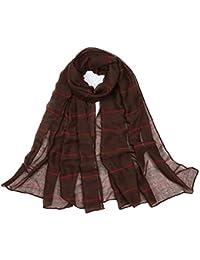 Hosaire Femme Foulard Élégant Solid Couleur Rayure Coton Écharpe de Tricot  Chaude et Froide Doux Longue Écharp pour Automne et… 57ceed01280
