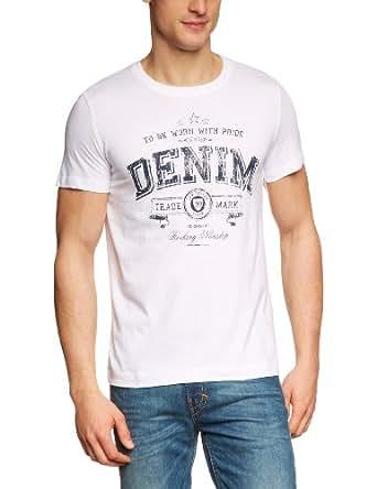 TOM TAILOR Denim Herren T-Shirt 10211780912/chest logo tee, Weiß (2000  white), Gr. 48 (Herstellergröße: M)