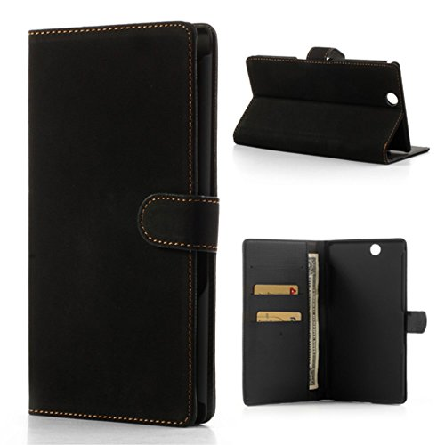 Antique Grain Leather Wallet Tasche Hüllen Schutzhülle Stand for Sony Xperia Z Ultra C6806 C6802 C6833 XL39h - Black