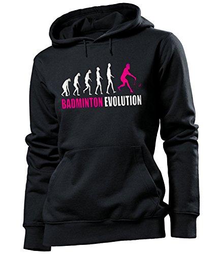 love-all-my-shirts Badminton Evolution 523 Fanhoodie Frauen Damen Hoodie Pulli Kapuzen Pullover Kapuzenpullover Sportbekleidung Sport Fanartikel Schwarz Aufdruck Pink M