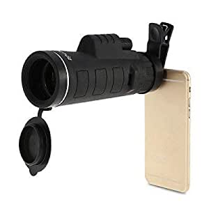 Mobimint Mobile Lens 40x60 HD Monocular Telescope with Universal Clip Compatible with All Android, iOS and Windows Device (Black)