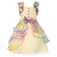 Richie House Girls' Dress with Pastel Ruffles and Pearl RH0920-4/5