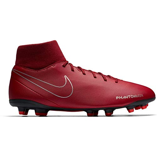NIKE Men's Phantom VSN Club DF FG/MG Team Red/Black-Metallic Silver Football Shoes (AJ6959-606)