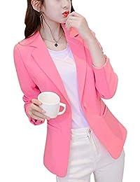 Blazer Mujer Elegante Negocios Oficina Chaqueta De Traje Slim Fit Moda  Fiesta Estilo Colores Sólidos De Solapa Manga… ac8e02ee766e