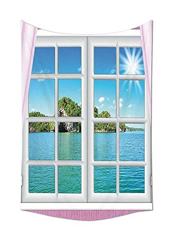 daawqee Tapestry Wall Hanging House Collection Ocean View from The Window on Island in Sunny Summer Day Peace Relax Rest and Forget Theme Pink Blue Wall Art for Living Room Bedroom Dorm Decor -