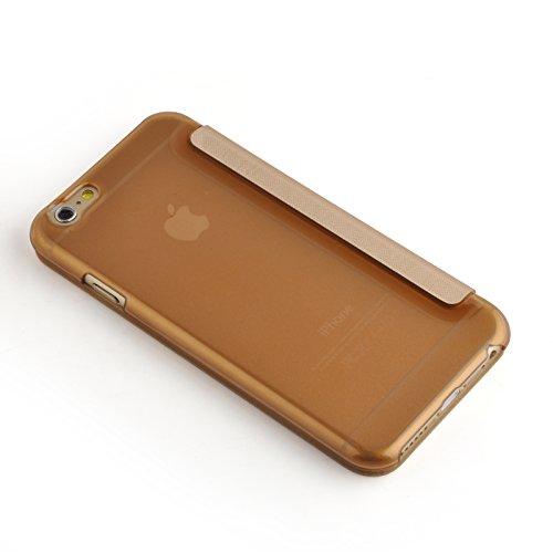 JAMMYLIZARD | Transparente Flip Case Handyhülle für iPhone 6 Plus / 6s Plus 5.5 Zoll, WEIß GOLD