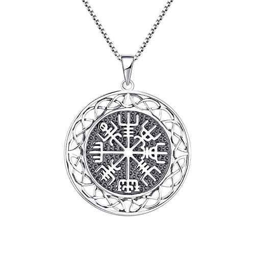 JO WISDOM Amuletos Collar Vikingos Vegvisir Colgante de Plata 925 para Mujer