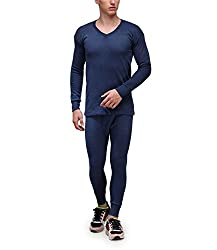 Alfa Lava Mens Cotton Premium Thermal Wear Set [ V Neck Full Sleeves Top + Trouser ] + 1 Pair Socks Free