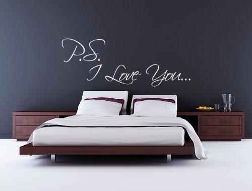 60 Second Makeover Limited PS I Love You Schlafzimmer Wand Aufkleber romantische Aufkleber Hochzeit Verlobungsring Geschenk Film, Schwarz glänzend, Regular