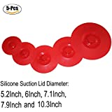 """Silicone Lid - Set Of 5 Food Covers - Reusable Silicone Suction Lid Food & Bowl Cover - Covers For Bowls, Pots, Cups - Diameter 5.2"""" 6"""" 7.1"""" 7.9"""" 10.3"""" Fit Cups Dishes Skillets Pans - Keep Kitchen Neat & Food Fresh By KARP"""