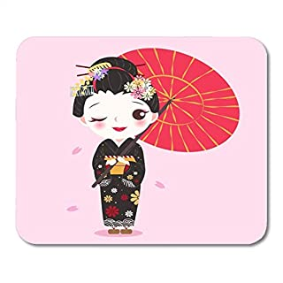Mouse Pads Asian Kimono Beauty Cartoon Geisha on The Pink Asia Attractive Mouse Pad