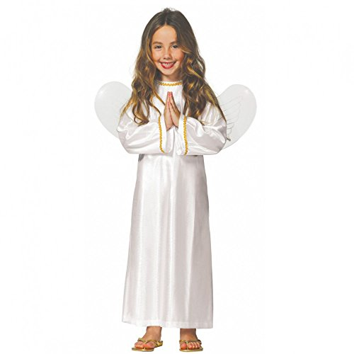 Kostüm Engel Dina Kleid inkl. Flügel weiß Weihnachten Krippenspiel (10- 12 Jahre (Gr. 140- 152)) (Engel-flügel-Ärmel)