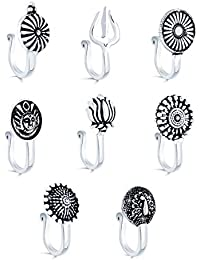 Yellow Chimes Beautiful Classic Designs 8 Pcs Combo Silver Oxidized Finishing Without Piercing Nose Pins for Women & Girls